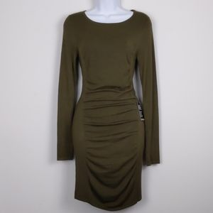 Express-Army green bodycon dress with ruching XS